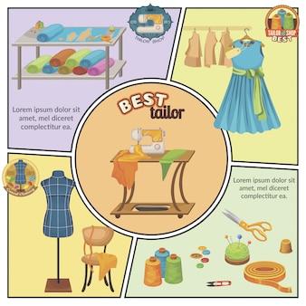 Platte kleermakerij kleurrijke compositie met jurk naaimachine schaar meetlint vingerhoed draad spoelen dummy stof knopen