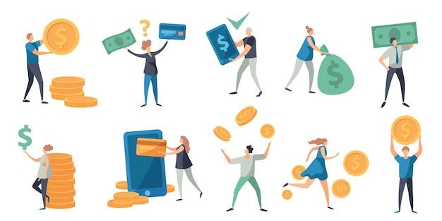 Platte kleine karakters betalen met geld, kaart en telefoon. mensen met contant geld, biljetten en munten. terugbetaling, uitwisseling en betaling vector concept set