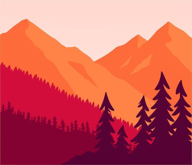 Platte kleur berglandschap met bos