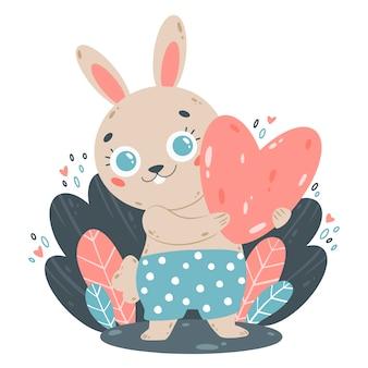 Platte kleur vectorillustratie van schattige cartoon konijntje met hart