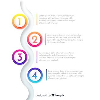 Platte kleurovergang infographic met stappen
