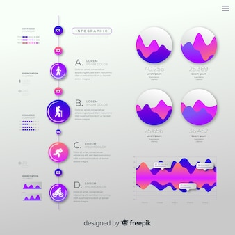 Platte kleurovergang infographic met statistieken