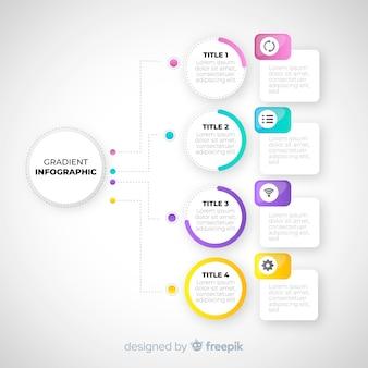 Platte kleurovergang infographic sjabloon