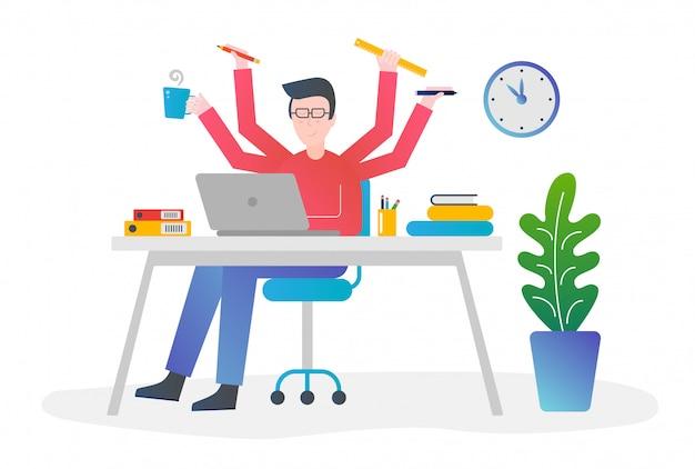 Platte kleurovergang ontwerp concept illustratie. office man met multitasking en multivaardigheid. mannetje met vier handen die verschillende dingen voor tijdbeheer houden.