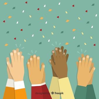 Platte kleurrijke handen applaudisseren