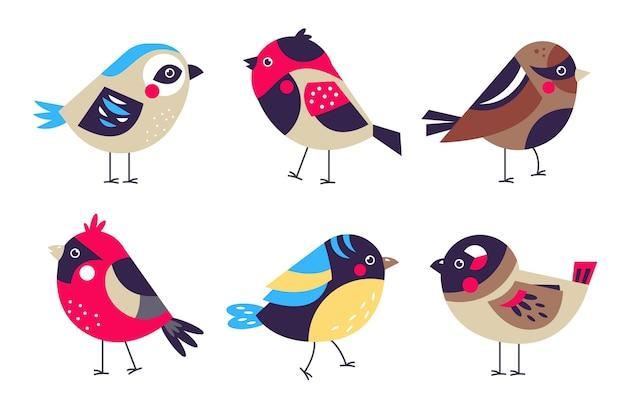 Platte kleurrijke robin-set