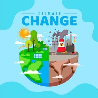 Platte klimaatverandering concept illustratie