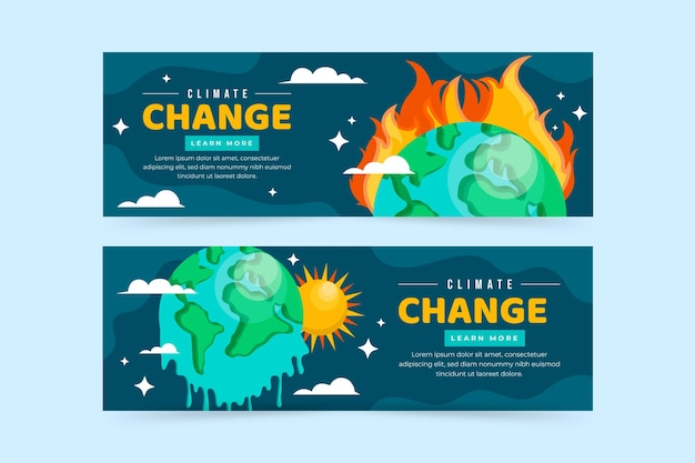 Platte klimaatverandering horizontale banners set