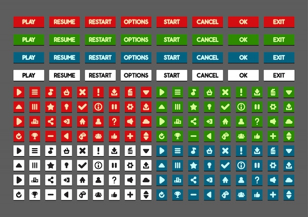 Platte knoppen voor het maken van videogames