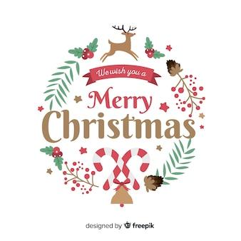 Platte krans kerstmis achtergrond