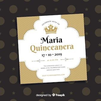 Platte kroon quinceanera feestkaart