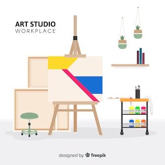 Platte kunst studio werkplek illustratie