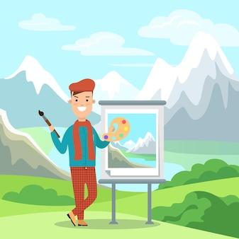 Platte kunstenaar schilderij afbeelding op ezel berglandschap vectorillustratie