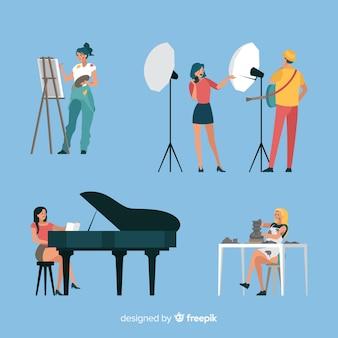 Platte kunstenaars op werkcollectie