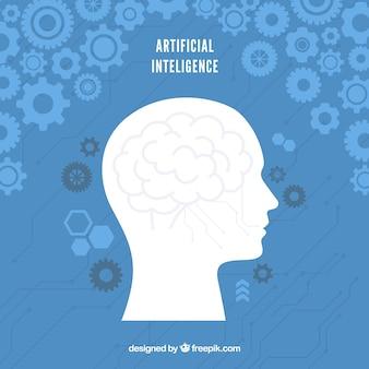 Platte kunstmatige intelligentie achtergrond