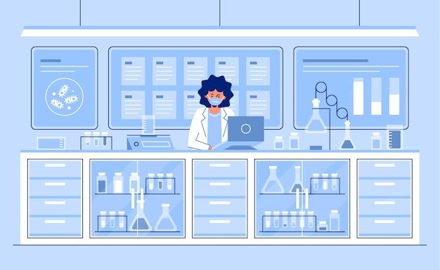 Platte laboratorium kamer illustratie