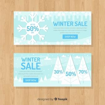 Platte landschap winter verkoop sjabloon voor spandoek