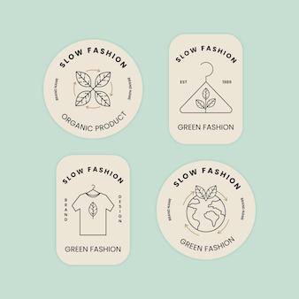 Platte, langzame mode-badge set