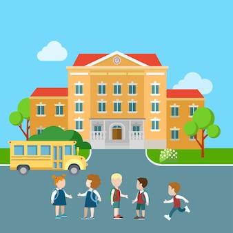 Platte leerlinggroep, bus en school illustratie. onderwijs en kennisconcept.
