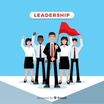 Platte leiderschap concept