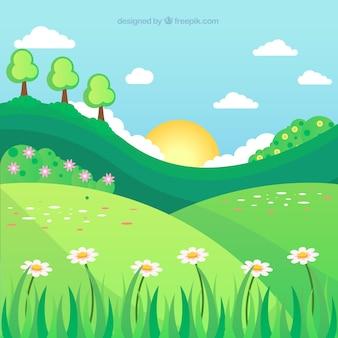 Platte lente achtergrond met landschap
