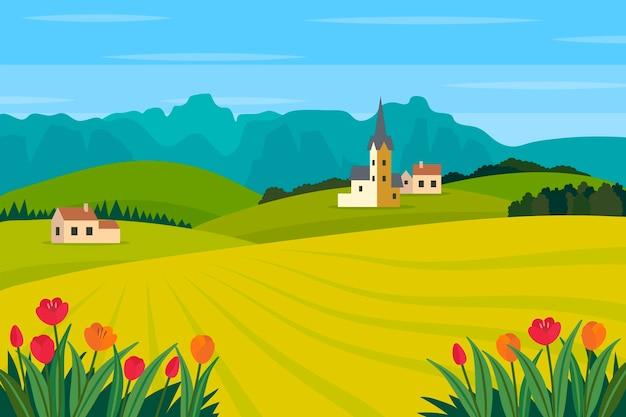 Platte lente landschap met veld