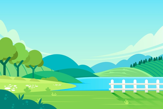 Platte lente landschap