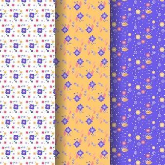 Platte lente patroon collectie Gratis Vector