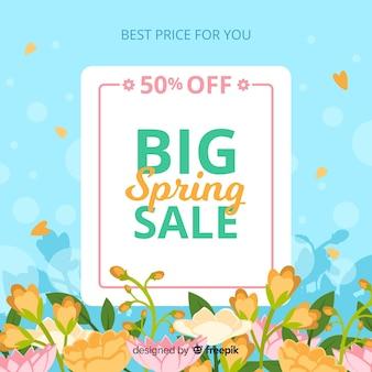 Platte lente verkoop achtergrond