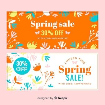 Platte lente verkoop banners