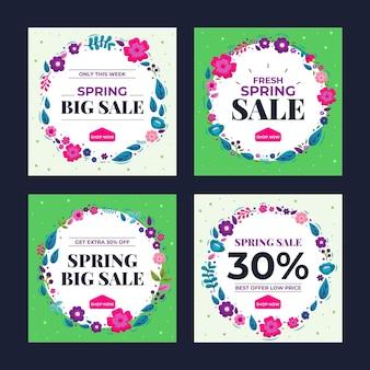 Platte lente verkoop instagram posts pack
