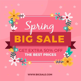 Platte lente verkoop met grote verkoop belettering
