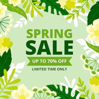 Platte lente verkoop met planten
