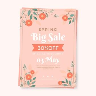 Platte lente verkoop sjabloon folder met bloemen