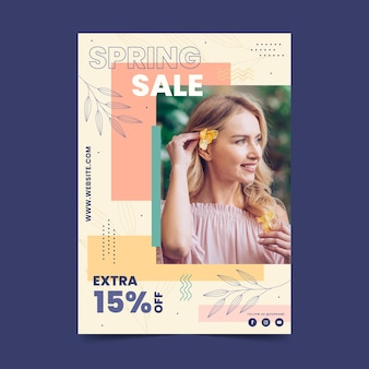 Platte lente verkoop sjabloon folder met foto