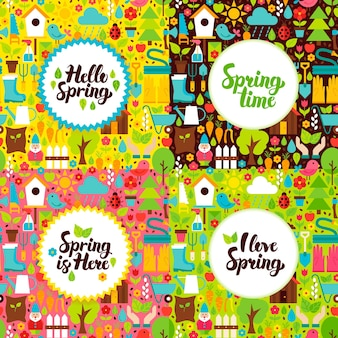 Platte lentetuin ansichtkaarten. vector illustratie natuur posters met handgeschreven letters.