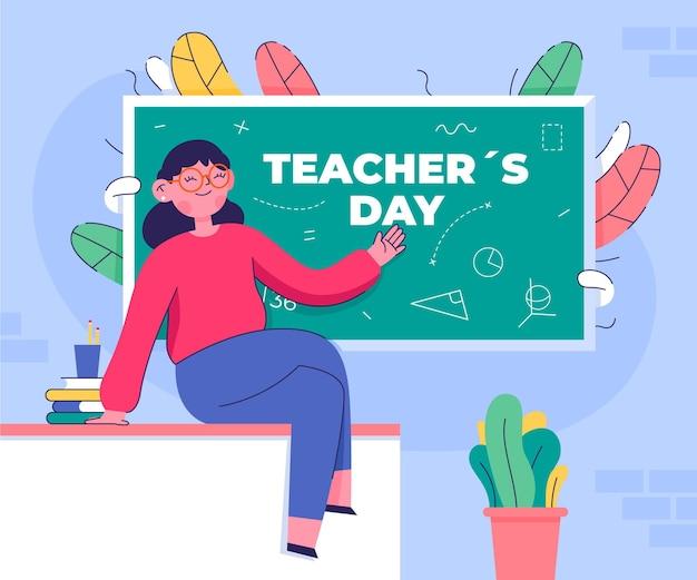 Platte lerarendag illustratie