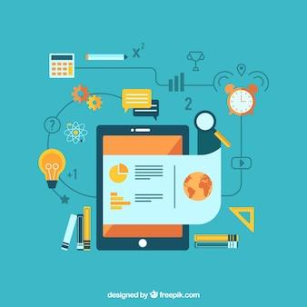 Platte leren achtergrond met tablet en educatieve benodigdheden