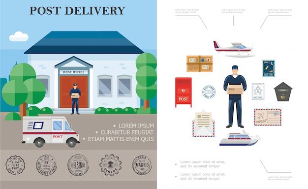Platte levering kleurrijke samenstelling met postbode vlotter vliegtuig jacht postkantoor koeriers vrachtwagen postbus pakket en postzegels