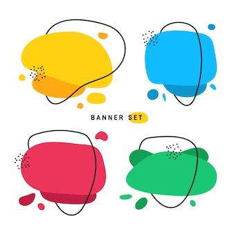 Platte lijn amoebe banner set