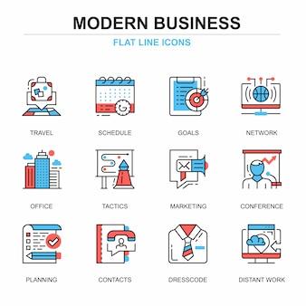 Platte lijn business en ontwikkeling iconen concepten instellen