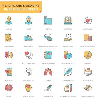 Platte lijn gezondheidszorg en geneeskunde pictogrammen instellen