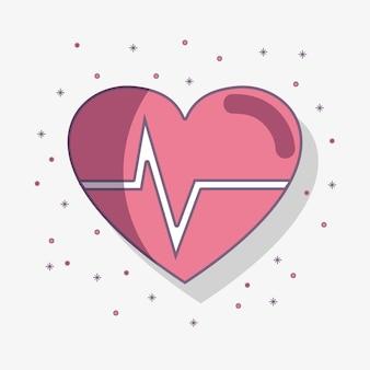 Platte lijn heartbeat cardio vitale teken