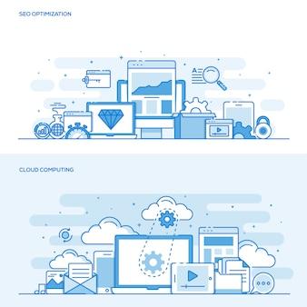 Platte lijn kleurconcept - seo en cloud computing