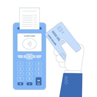 Platte lijn pictogram concept van draadloze betaling