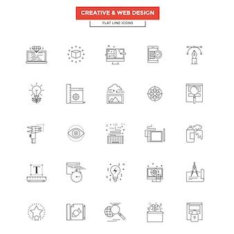 Platte lijn pictogrammen