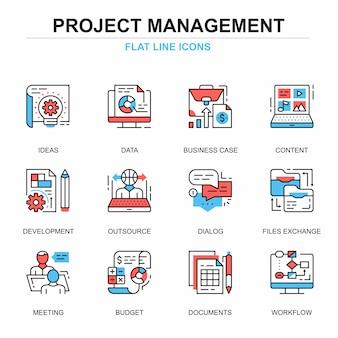 Platte lijn projectmanagement pictogrammen concepten instellen