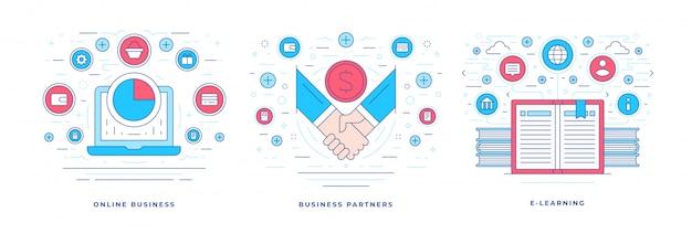 Platte lijnbanner voor online zakelijke en e-learningdiensten