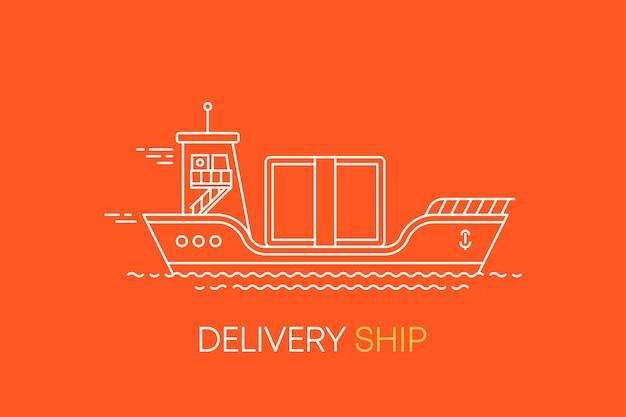 Platte lijnillustratie met leveringsschipvliegtuig en auto voor webdesign voedselbezorgservice