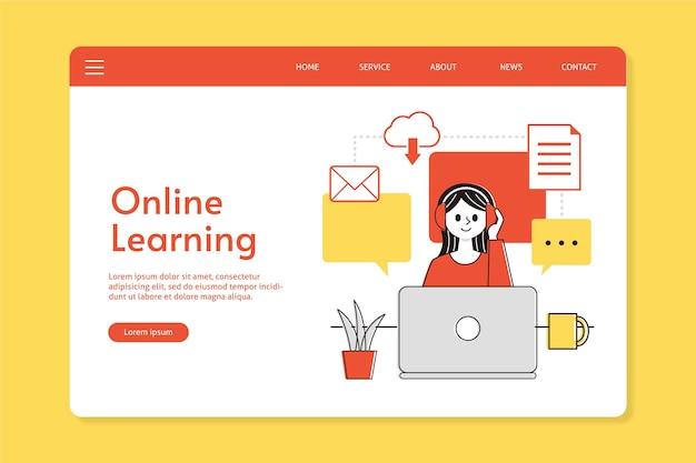 Platte lineaire bestemmingspagina voor online onderwijs